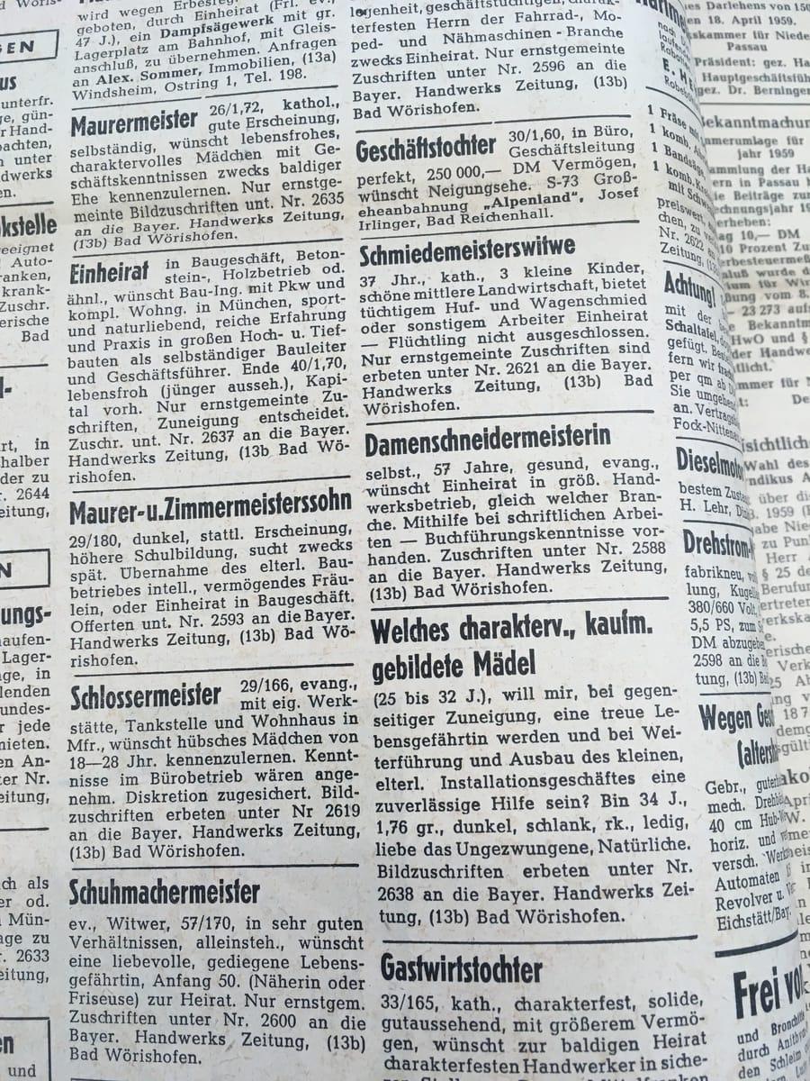 Alte Heiratsanzeigen aus der Deutschen Handwerks Zeitung