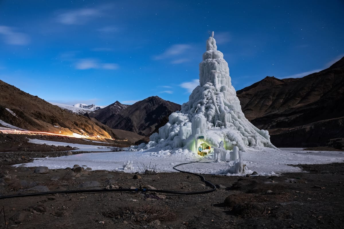 Selbstgebauter Gletscher in Nordindien