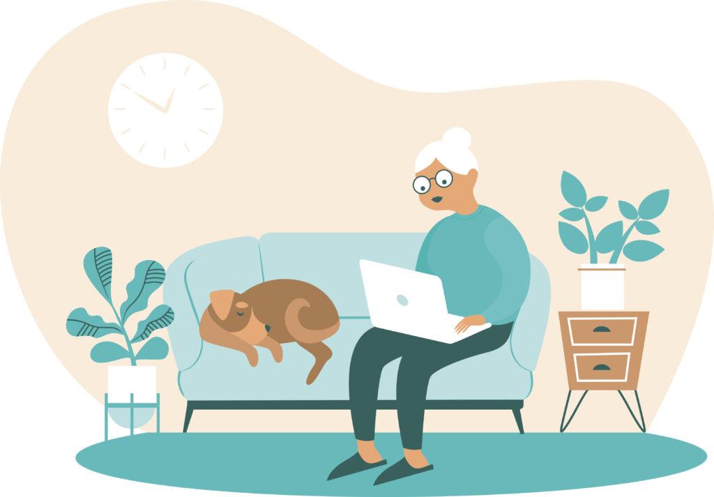 Rentnerin sitzt auf Sofa