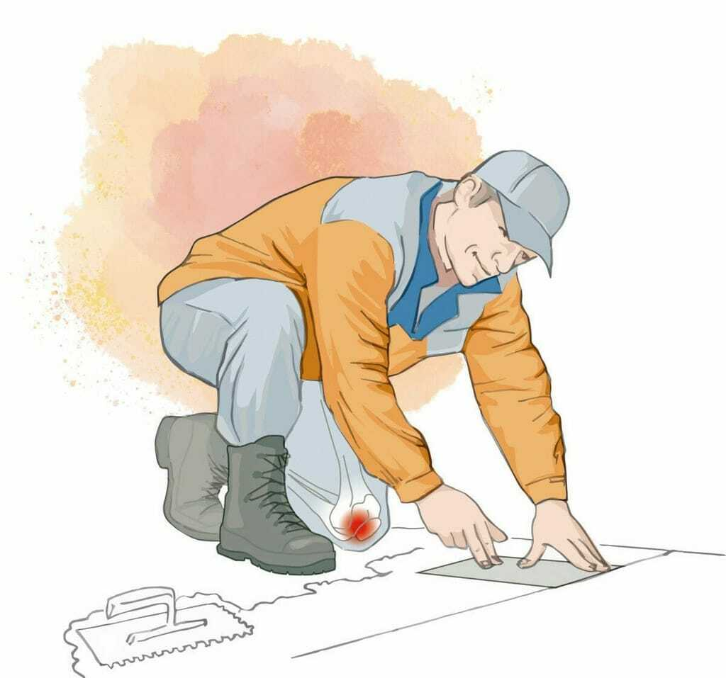 Illustration Kniebelastung beim Fliesenleger