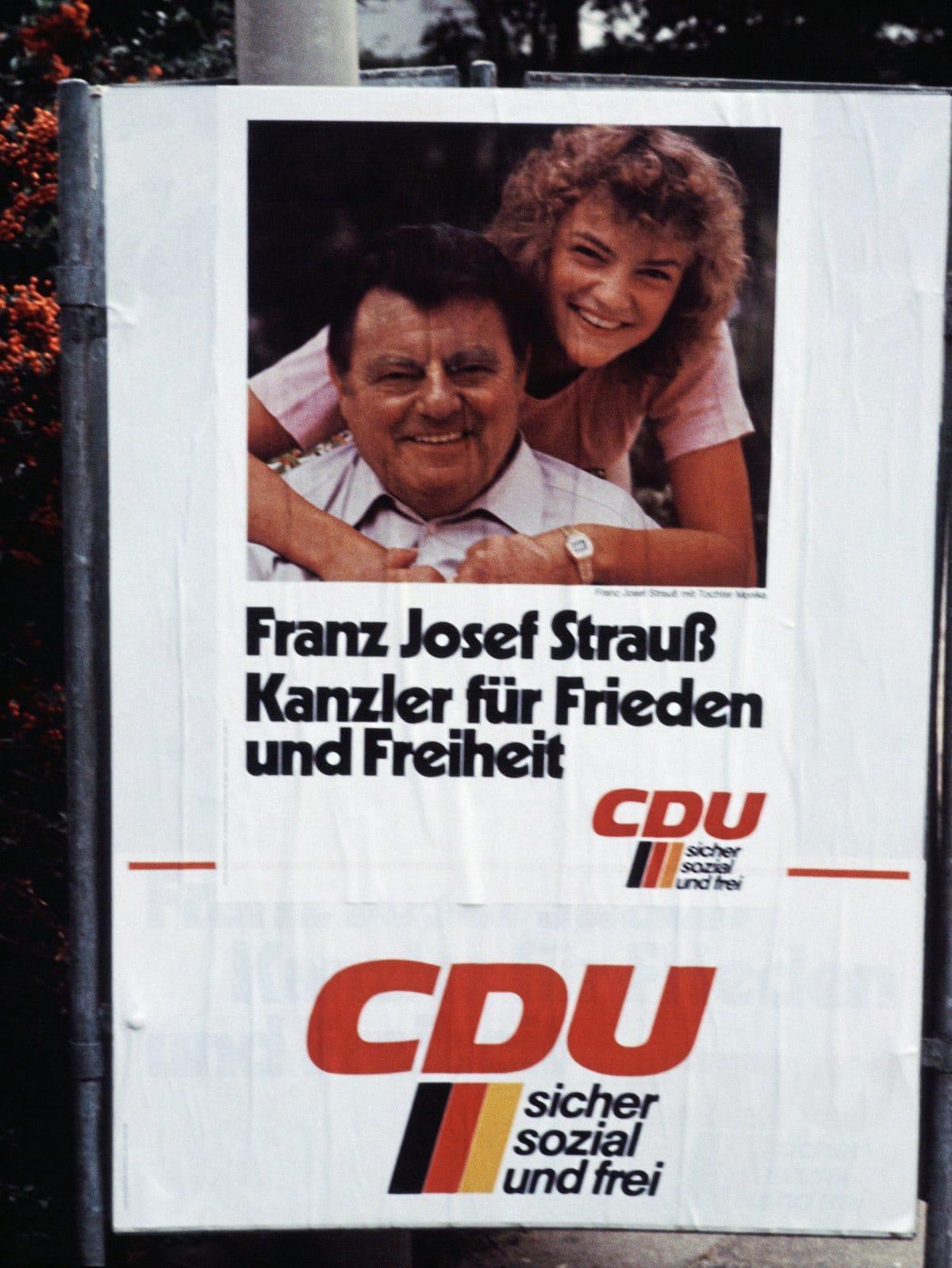 Unionskanzlerkandidat Franz-Josef Strauß im Wahlkampf 1980