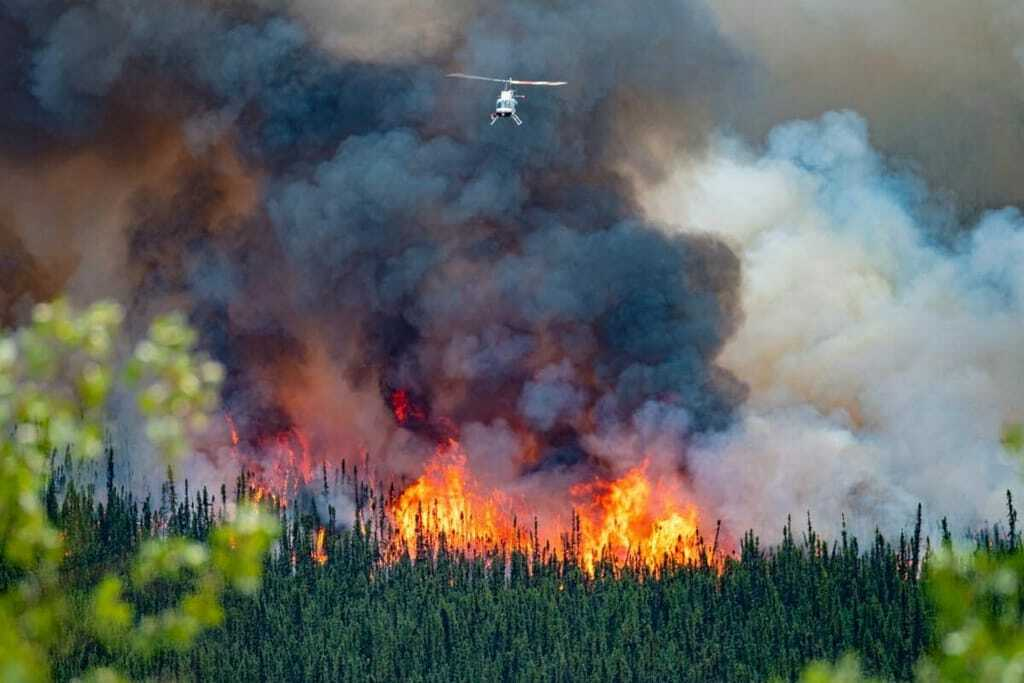 Löschhubschrauber über Waldbrand