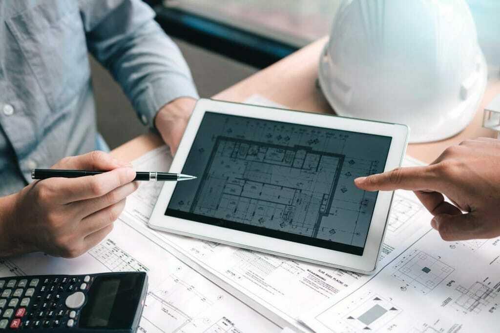 Digitalisierung Bauplan Tablet