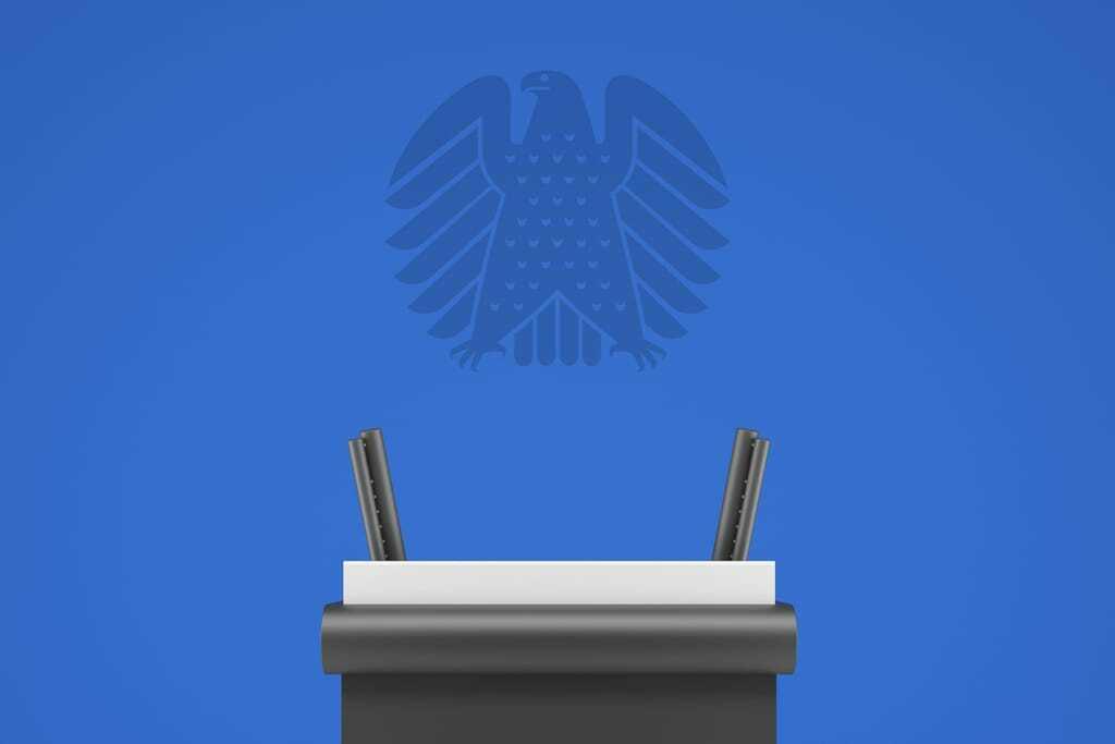Rednerpult im Bundestag