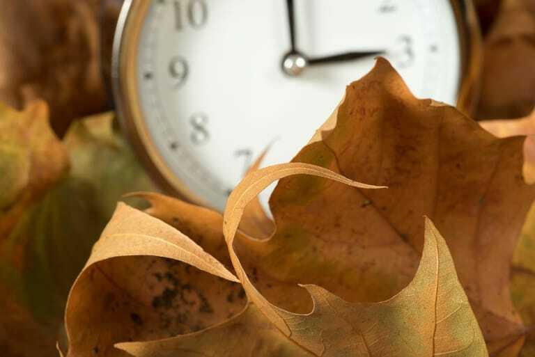 Herbstlaub und Wanduhr.