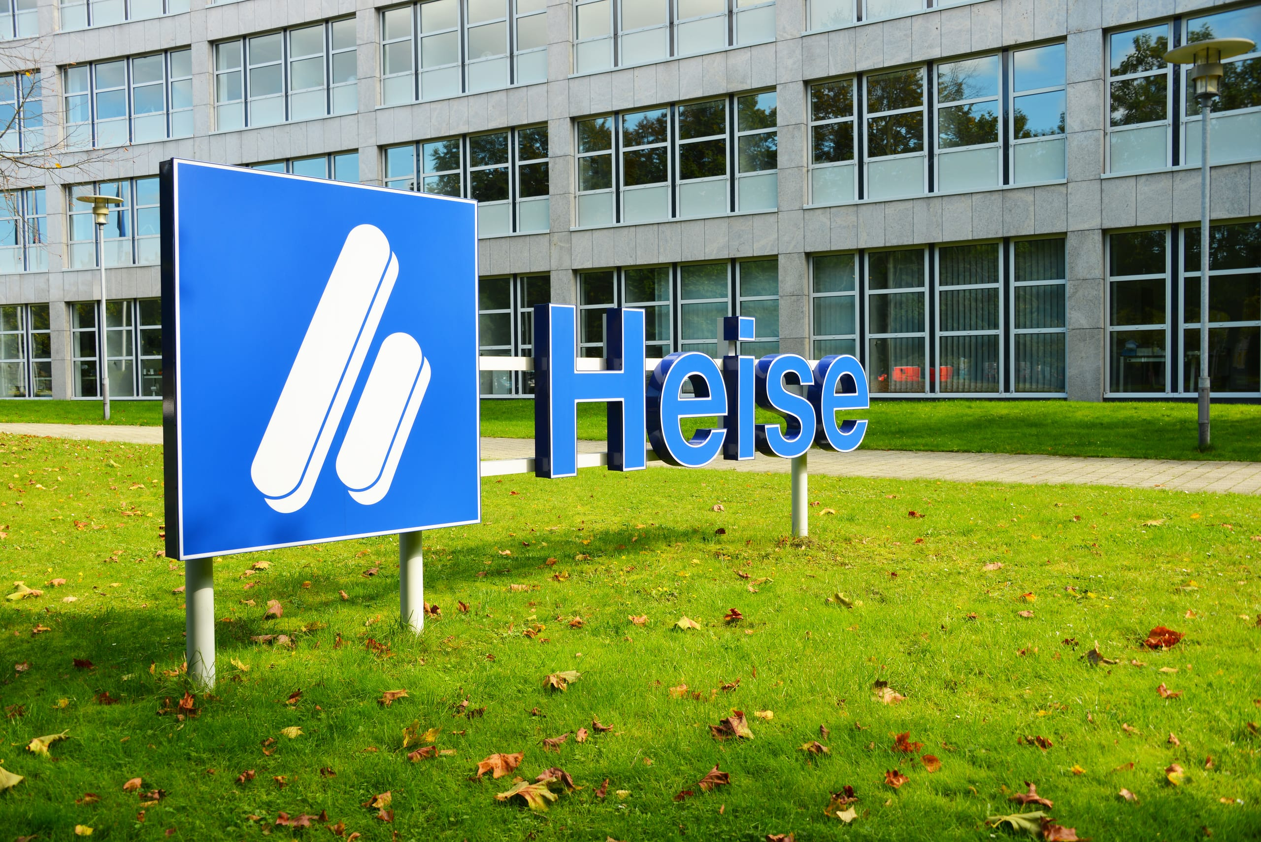 Hannover, Lower Saxony / Germany - Oktober 1, 2017: Heise sign in front of headquarters of Heise online in Hannover, Germany - Heise is a publishing house, its focus is PC oriented publications