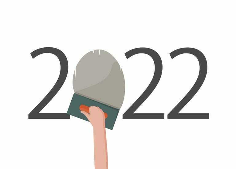 Grafik. Zahl 2022. 0 wird von Hand gespachtelt.